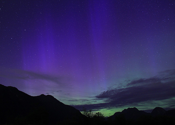 Northern Lights at Pitt Lake, near Vancouver, BC.