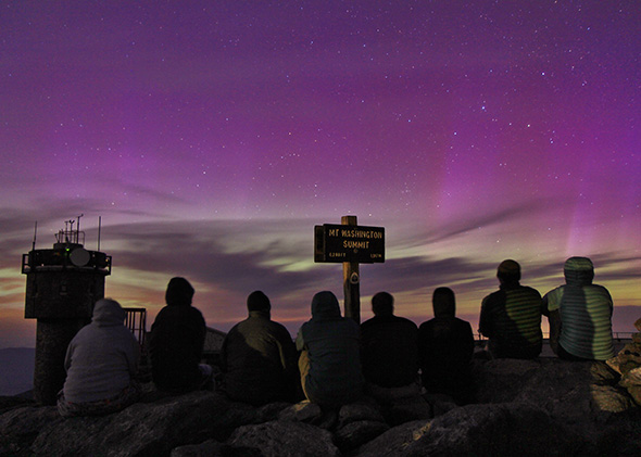 Aurora Borealis from the Mount Washington Observatory in New Hampshire.