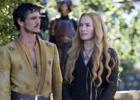 Oberyn Martell (Pedro Pascal) and Cersei (Lena Heady).