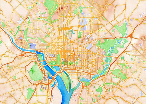 DC Watercolor Map.