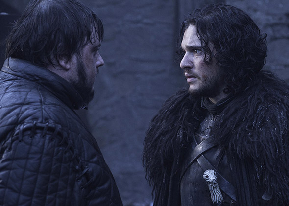 John Bradley and Kit Harington in Game of Thrones.