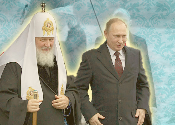 Russian President Vladimir Putin, right, walks with Russian Orthodox Patriarch Kirill, left, to place flowers at a statue of Minin and Pozharsky, the leaders of a struggle foreign invaders in 1612, to mark the National Unity Day in Moscow, on Nov. 4, 2013.