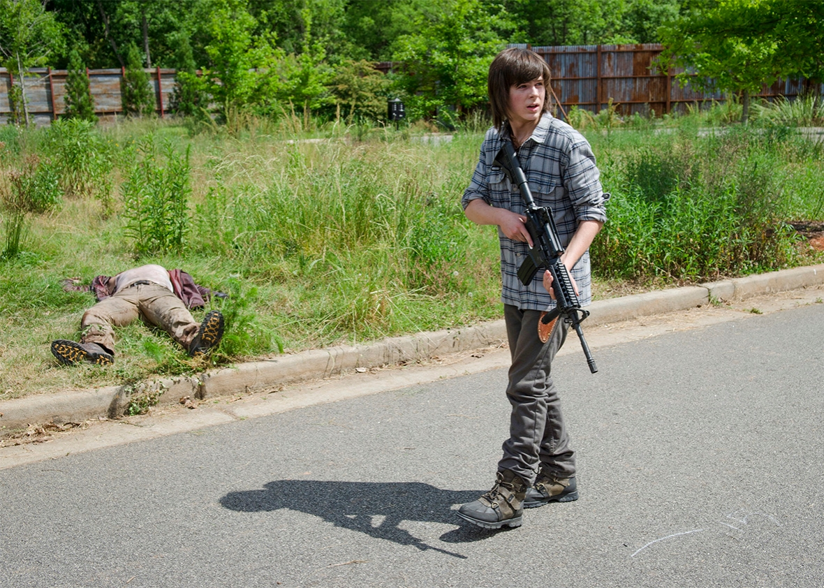 Chandler Riggs as Carl Grimes, The Walking Dead, Season 6, Episo,Chandler Riggs as Carl Grimes, The Walking Dead, Season 6, Episode 2.