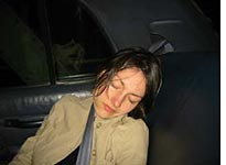 Nancy, asleep in a cab, after art opening/dive bar