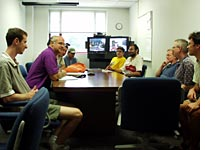 Group meeting, with Fermilab contingent on television