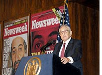 Secretary Henry Kissinger speaking at the Newsweek Future of New York luncheon