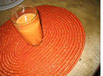 A  delicious peach-and-orange smoothie Josh made