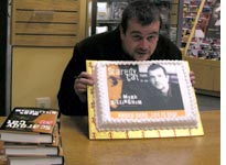 "Mark Billingham with his ""face"" cake"