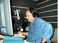 Alex in the studio during the first broadcast