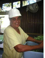 Carmelina, wearing her hard hat