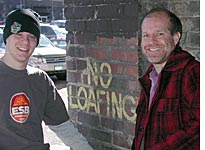 Aaron and Jason loafing the alley behind Funky Science
