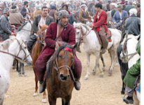 Men play Buzkashi