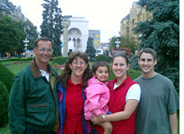 The Heisey family poses with Larissa in downtown Timisoara