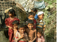 Rohingyan children from Burma in the Teknaf camp. Click image to expand.