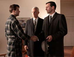 Pete Campbell (Vincent Kartheiser), Roger Sterling (John Slattery), and Don Draper (Jon Hamm) in the Season 3 finale. Click image to expand.