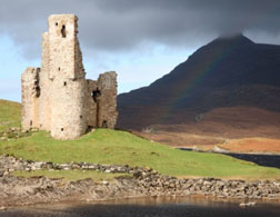 Ardvreck Castle on Loch Assynt in Sutherland, Scotland.
