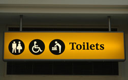 The unusual toilet icon found at Heathrow. Click image to expand.