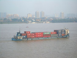 Cargo boats on the Changjiang (Yangtze River) in Wuhan