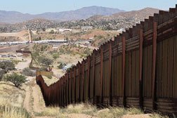 The fence between Nogales, Mexico, and and Nogales, Ariz.