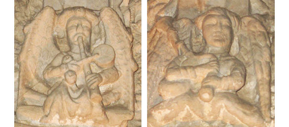Stone angels playing the drumlike tabor (left) and bagpipes (right).