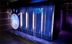 A general view of IBM's 'Watson' computing system at a press conference. Click image to expand.