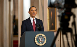 President Barack Obama delivers a statement in the East Room of the White House on the mission against Osama bin Laden, May 1, 2011 in Washington, DC. U.S. President Barack Obama announced that the United States had killed the most-wanted terrorist Osama Bin Laden in an operation led by U.S. Special Forces at a compound in Abbottabad, Pakistan. Click image to expand.