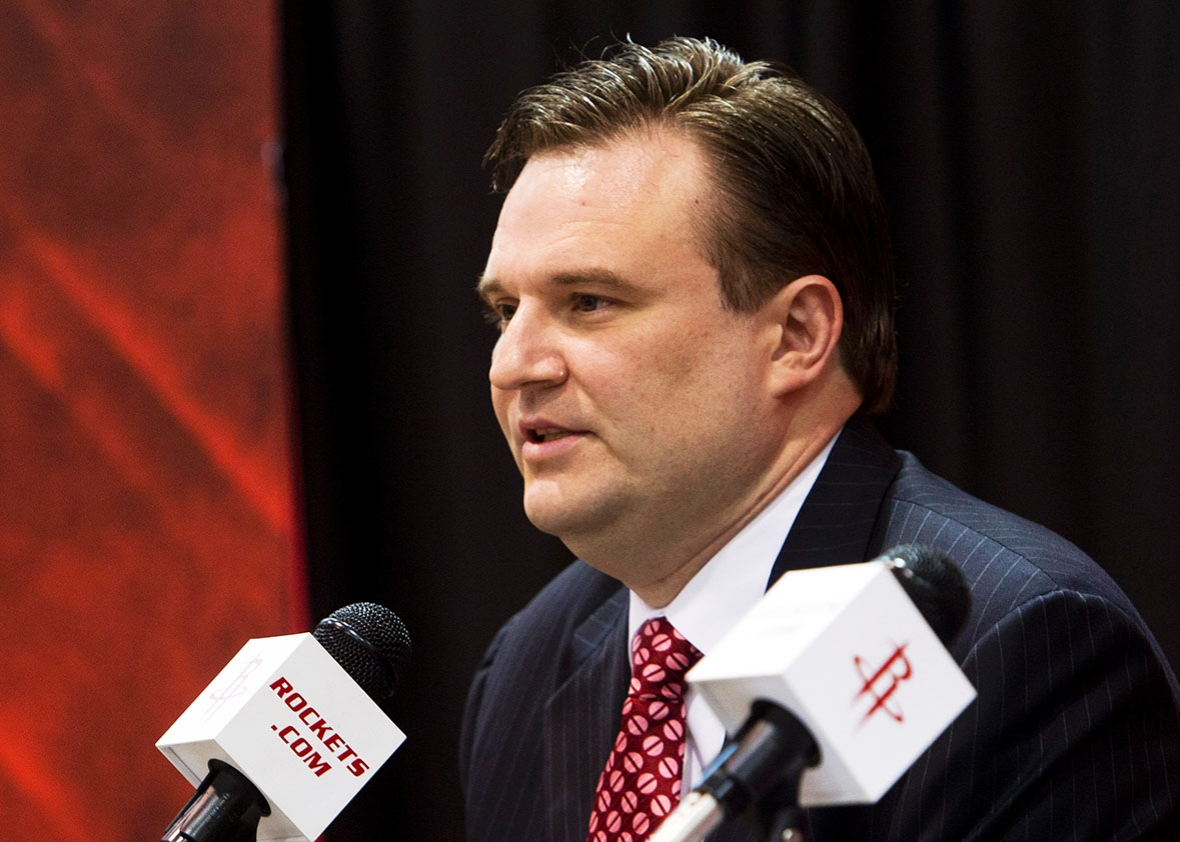 Daryl Morey, general manager of the Houston Rockets speaks during a press conference announcing the signing of Jeremy Lin at Toyota Center on July 19, 2012 in Houston, Texas.