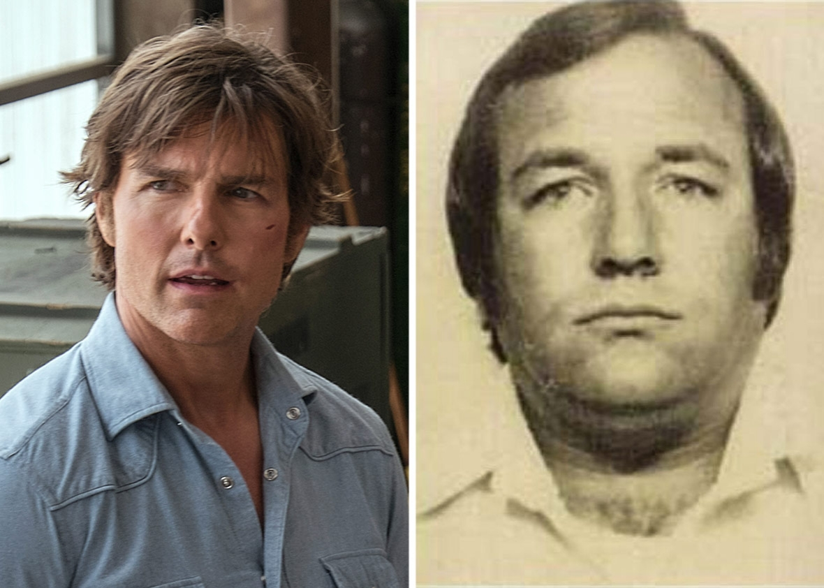 Tom Cruise as Barry Seal in American Made and the real-life Barry Seal