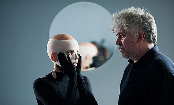 "Elena Anaya and Pedro Almodóvar on set of ""The Skin I Live In"""