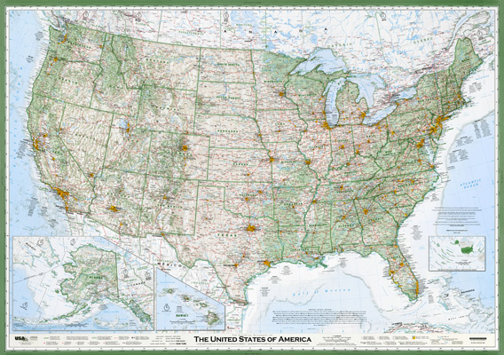 The Best American Wall Map David Imus The Essential Geography - Large us road map poster