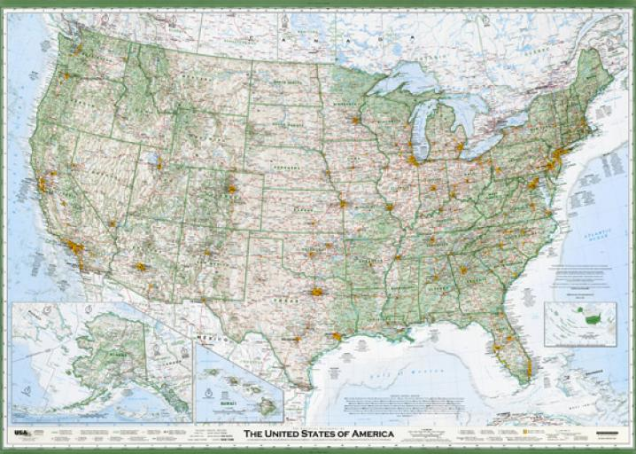 The Best American Wall Map David Imus The Essential Geography - Show us maps with states and cities