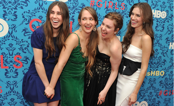 Zosia Mamet, Jemima Kirke, Lena Dunham, and Allison Williams attend the HBO with The Cinema Society host the New York premiere of HBO's 'Girls' on April 4, 2012 in New York City.