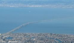 Aerial view of San Mateo-Hayward bridge.