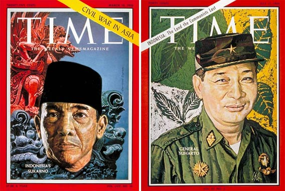 Cover of the March 10, 1958 issue of Time, featuring Sukarno, left; Cover of the July 15, 1966 issue of Time featuring General Suharto.