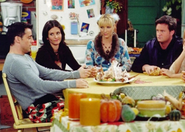Jennifer Aniston, Courteney Cox, Lisa Kudrow, Matt LeBlanc, Matthew Perry and David Schwimmer in Friends (1994).