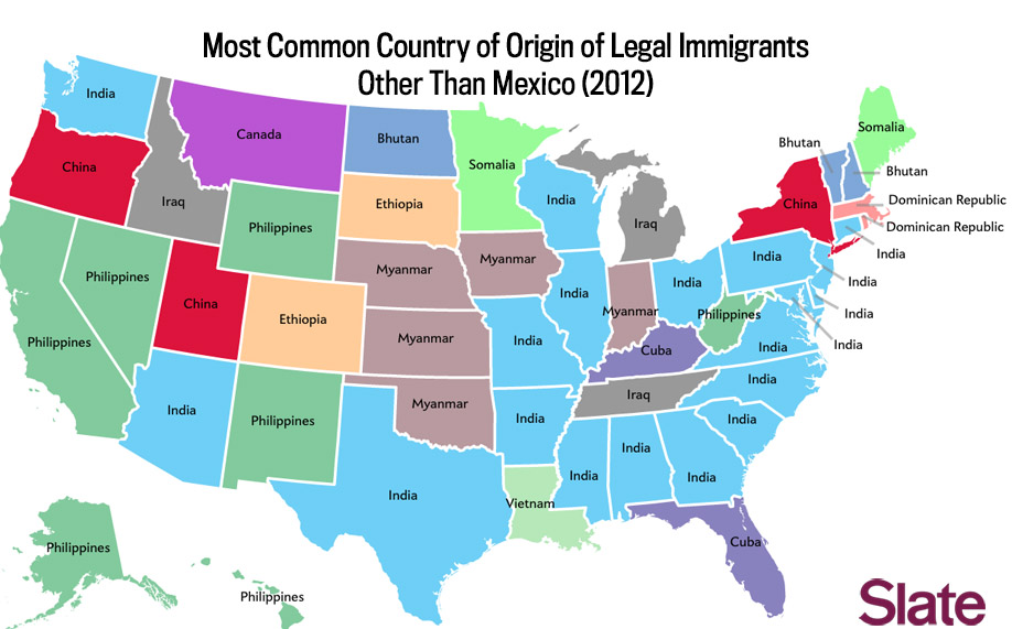 Immigration Map What Are The Biggest Immigrant Groups In Your State - States on us map