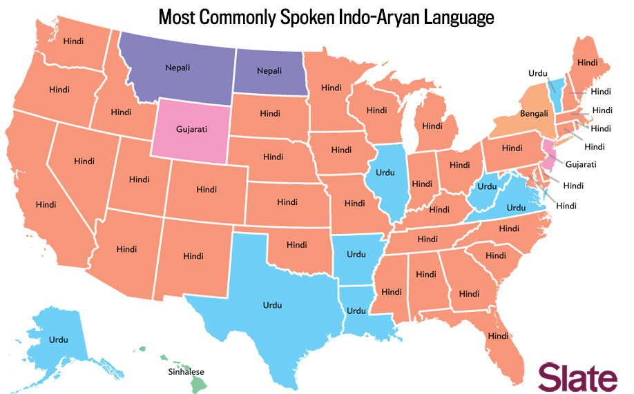 Language Map Whats The Most Popular Language In Your State - United states state maps