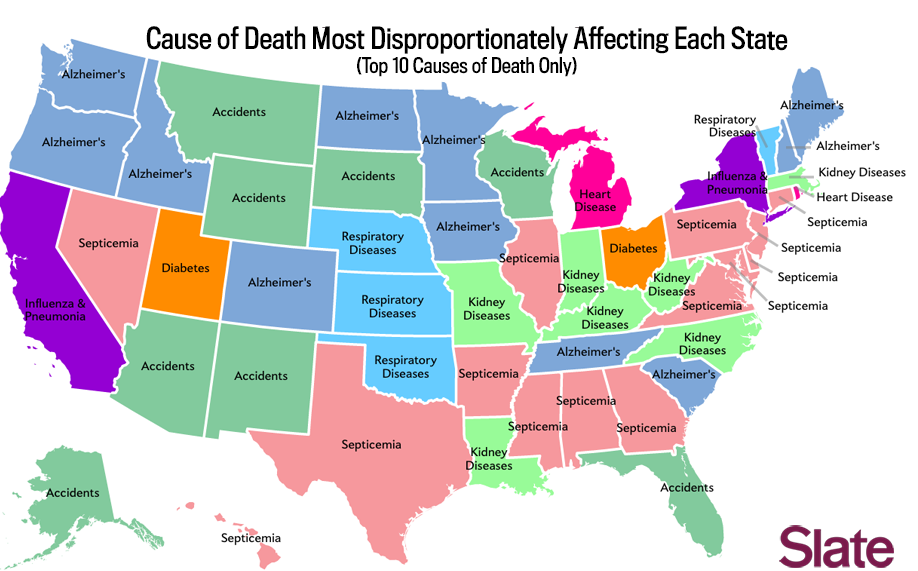 Death Map The Most Common Causes Of Death In Each State Of The Union - State maps of usa