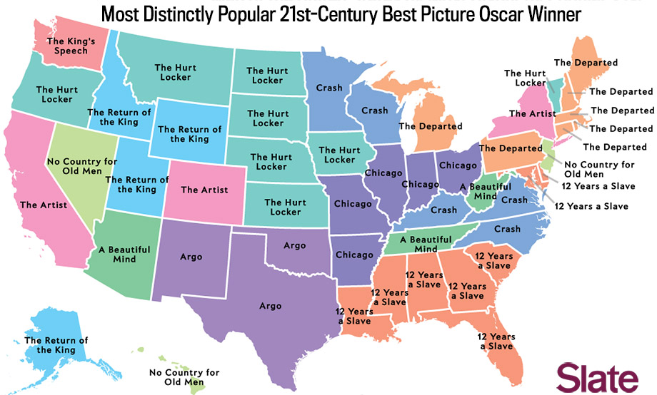 Most Popular Best Picture Winner A Map Of Movie Preferences - Map massachusetts