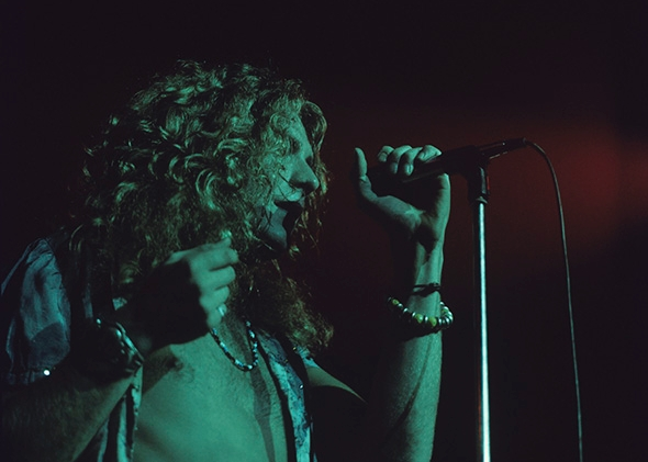 Robert Plant of Led Zeppelin performs on stage during the filming of The Song Remains the Same at Madison Square Garden on July 29, 1973.