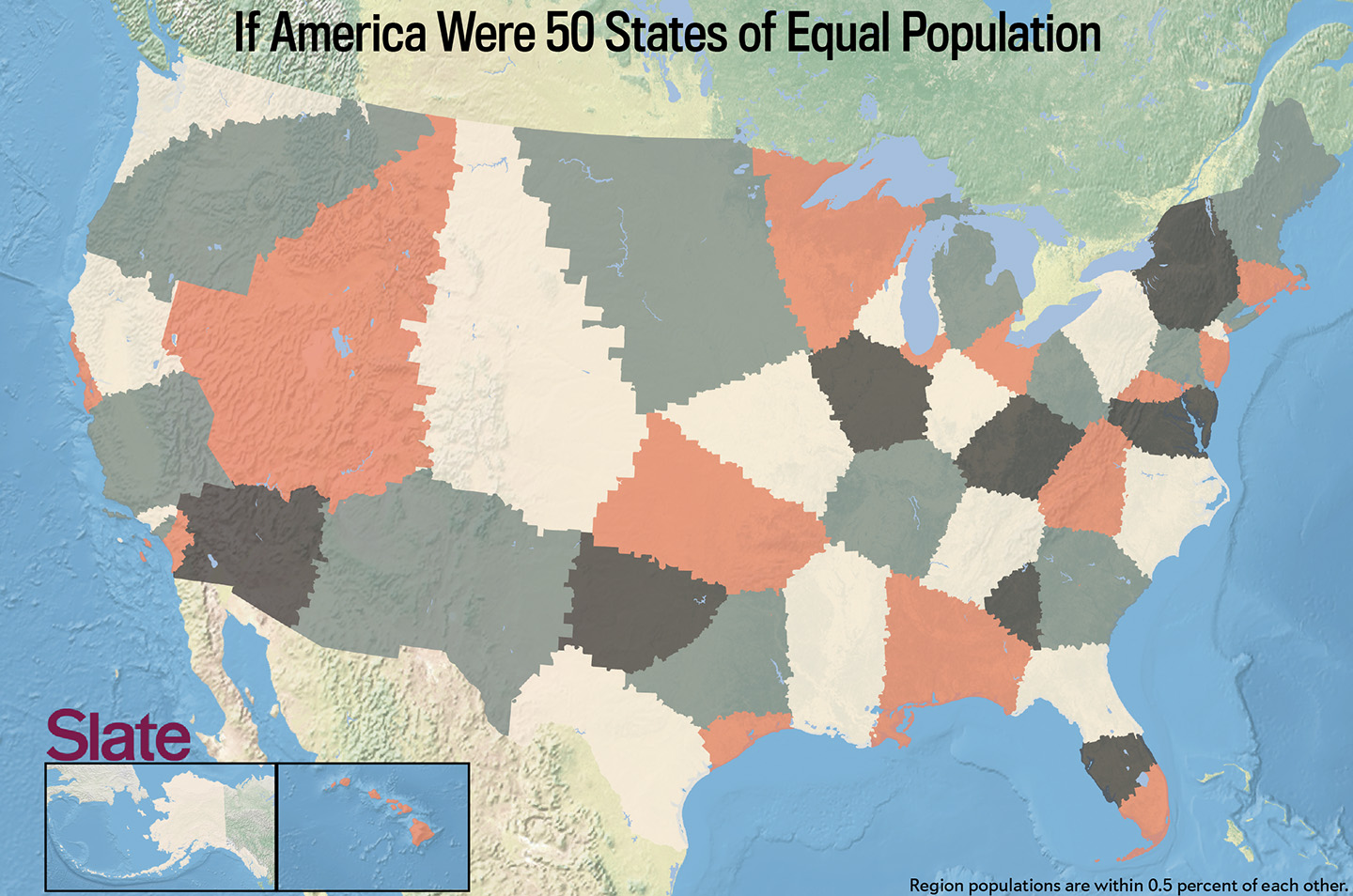 If Every US State Had The Same Population What Would The Map Of - Us map of 50 states