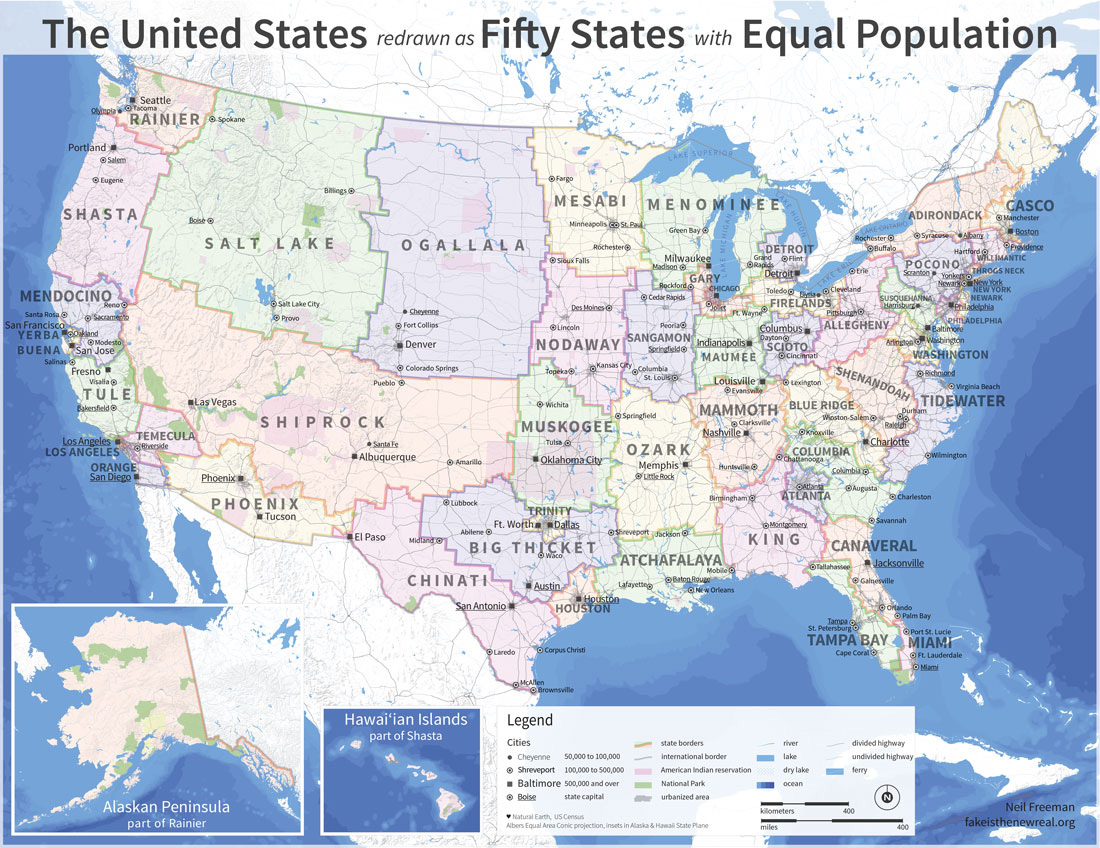 If Every US State Had The Same Population What Would The Map Of - Map of us states and large cities