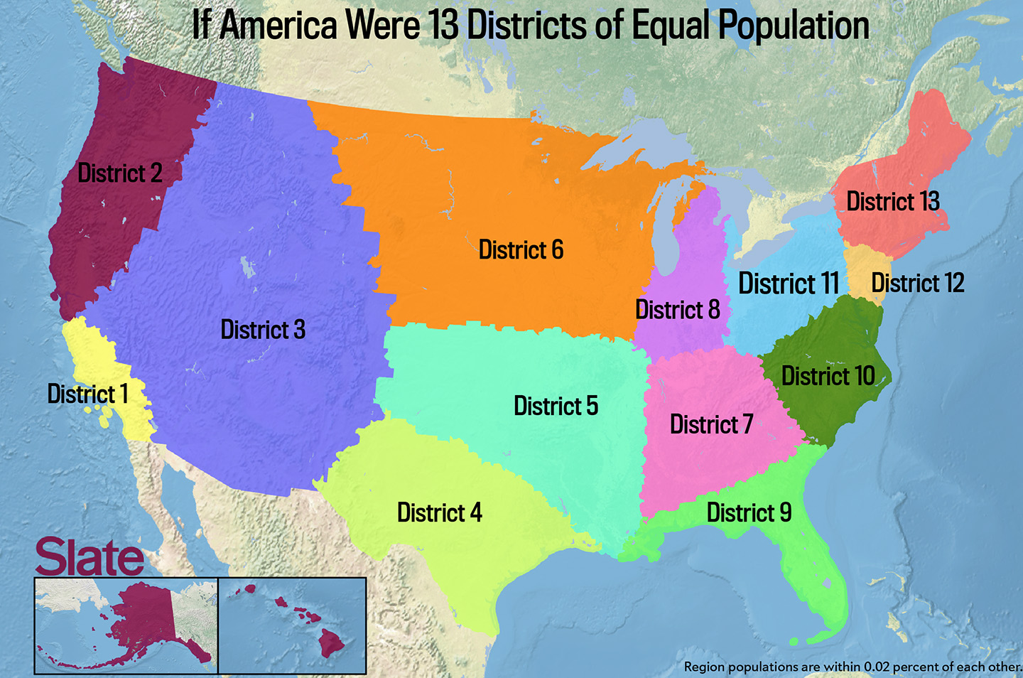 If Every US State Had The Same Population What Would The Map Of - Us map divided into regions