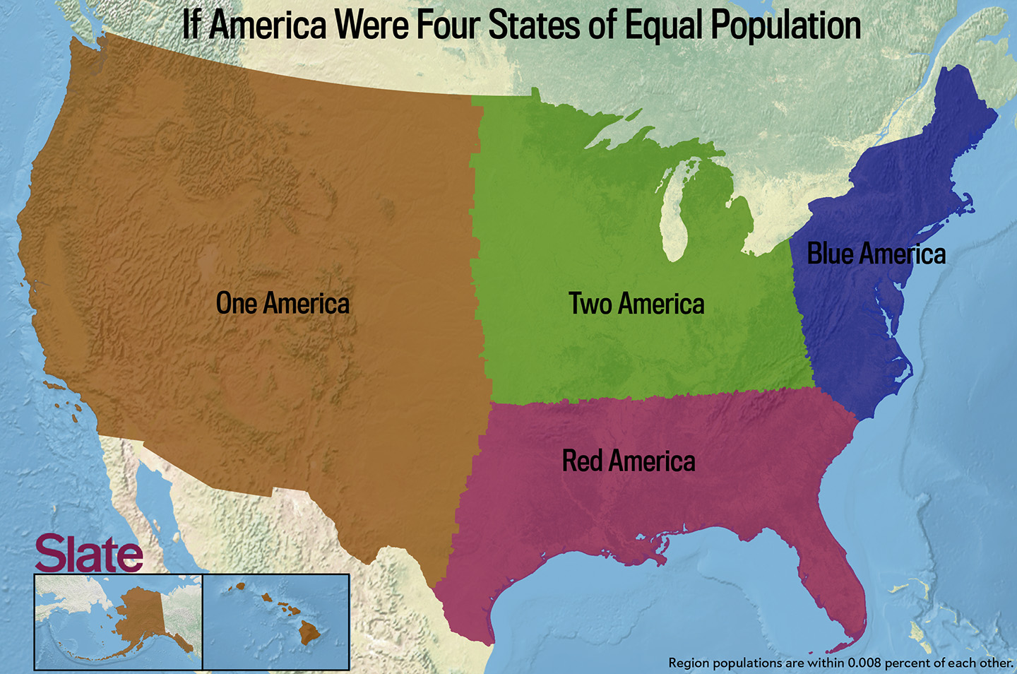 If Every US State Had The Same Population What Would The Map Of - Us map divided into 4 regions