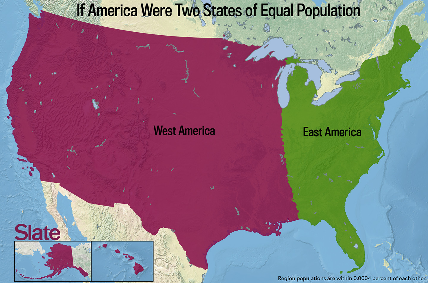If every us state had the same population what would the map of 140926cboxmapamericatwoparts gumiabroncs Images
