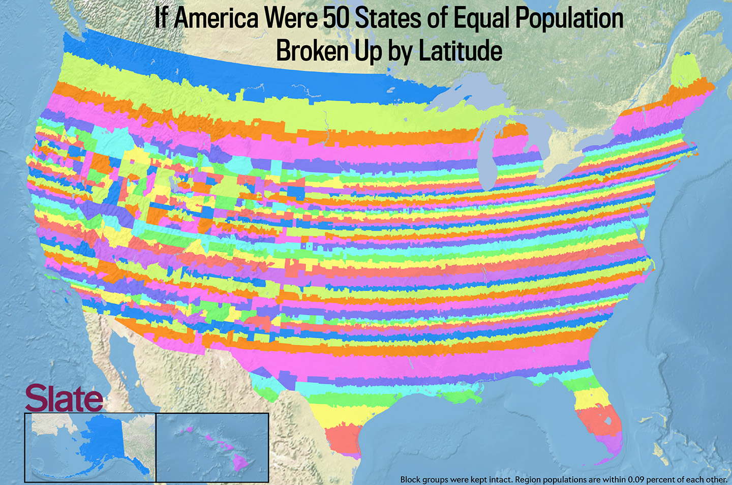 If Every US State Had The Same Population What Would The Map Of - Usa map with latitude and longitude