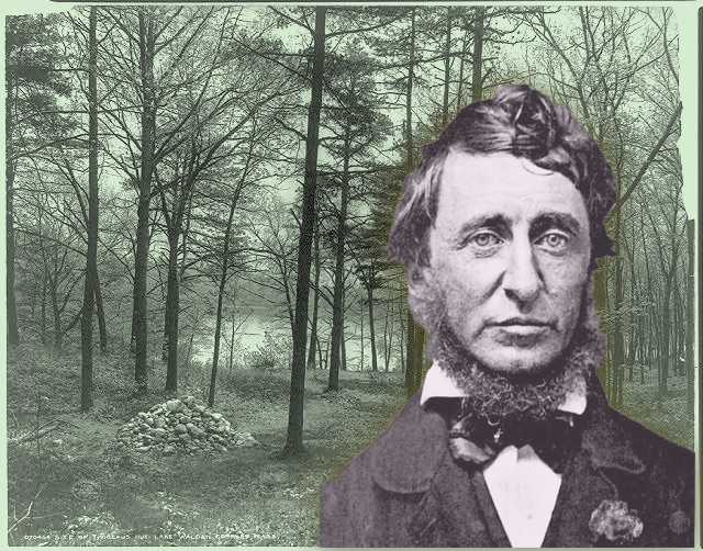 Henry David Thoreau and the site of Thoreau's hut, Lake Walden, Concord, Mass. in 1908.