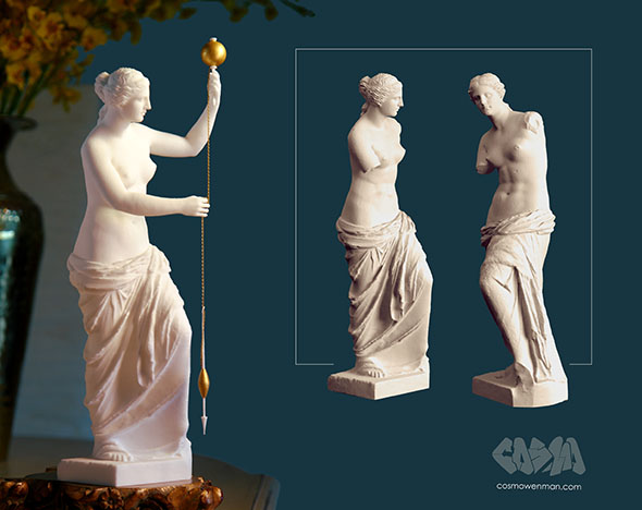 3D print of Venus de Milo Spinning Thread, left, and computer re