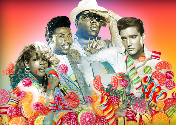 Kelis, Little Richard, Notorious B.I.G, Elvis Presley.