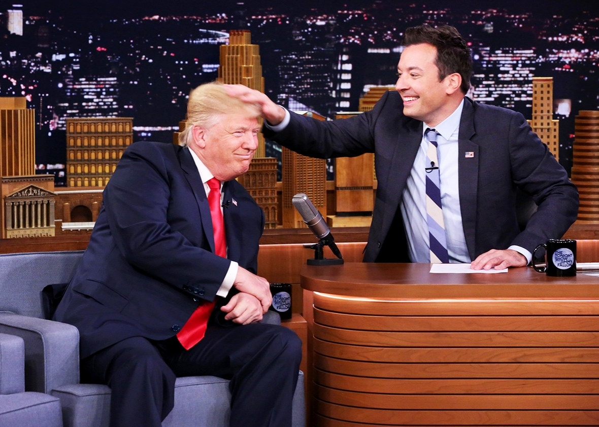 Republican Presidential Candidate Donald Trump during an interview with host Jimmy Fallon on September 15, 2016.